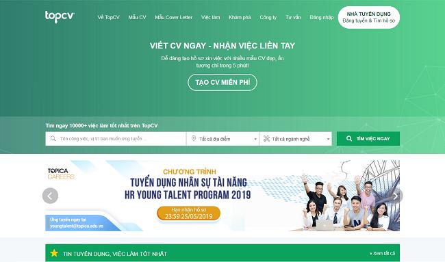 Topcv.vn là Top 10 website tuyển dụng việc làm uy tín nhất năm 2019