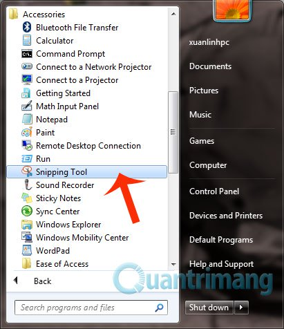 Mở Snipping Tool để chụp màn hình PC