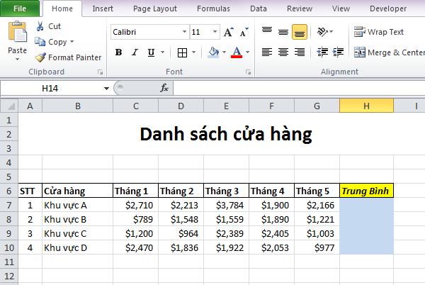 Tính Bình Quân Trong Excel